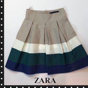 Zara Basics Color Block Striped Knee Length Skirt